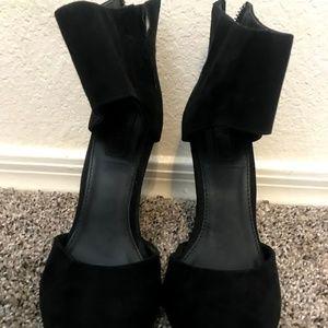 Zip Up Black Suede Wedges